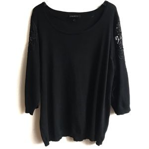 Lane Bryant Black Lace Detail Sleeve Sweater 26/28